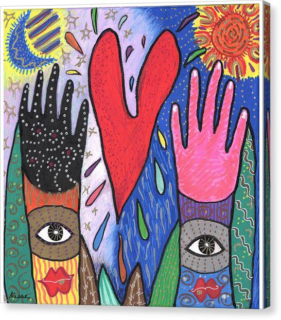 Two Hands Canvas Print by Sharon Nishihara