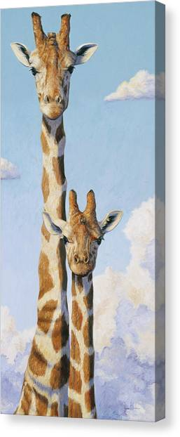 Giraffes Canvas Print - Two Heads In The Clouds by Lucie Bilodeau