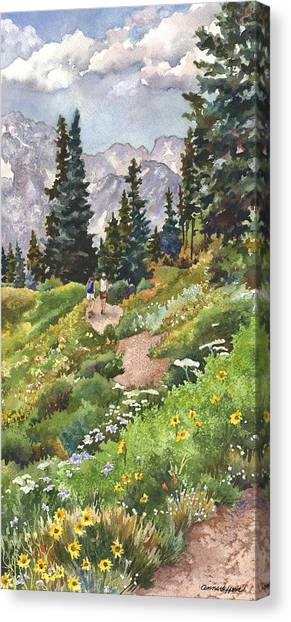 Pine Trees Canvas Print - Two Hikers by Anne Gifford