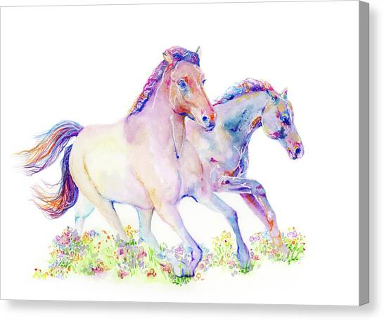 Canvas Print featuring the painting Two Horses by Lauren Heller