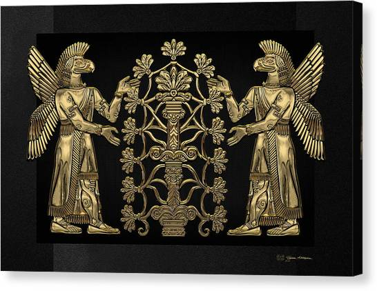 Two Instances Of Gold God Ninurta With Tree Of Life Over Black Canvas Canvas Print