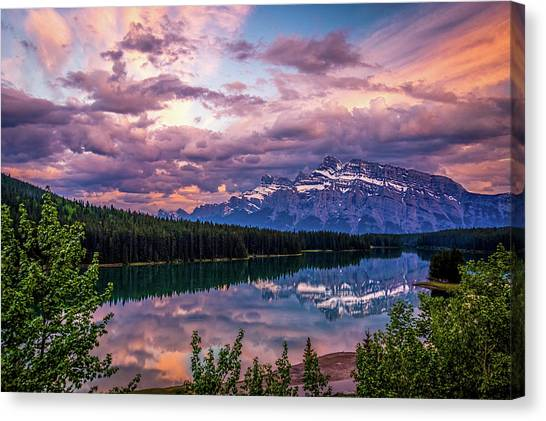 Two Jack Lake Sunset Canvas Print