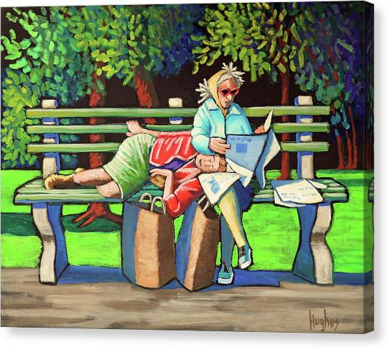Two Ladies On Bench Canvas Print