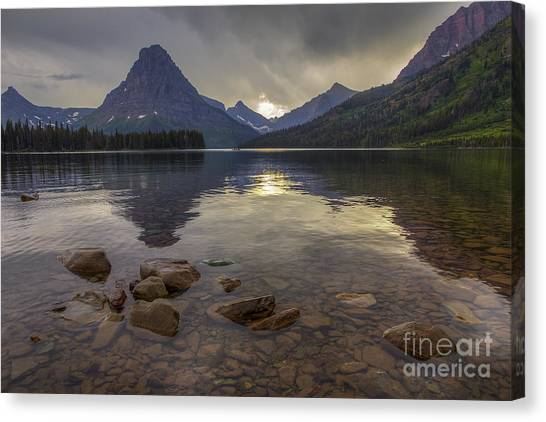 Two Medicine Lake And Sinopah Mountain Canvas Print