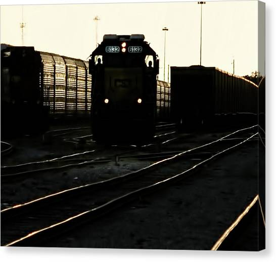 Freight Trains Canvas Print - Two Men And 6132 by Marvin Spates
