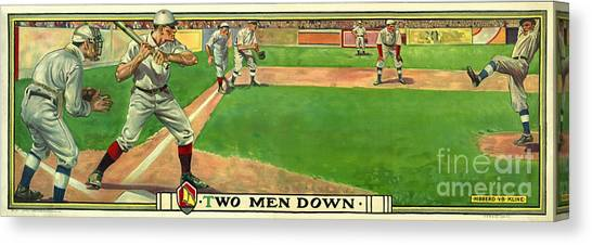 Baseball Players Canvas Print - Two Men Down by Jon Neidert