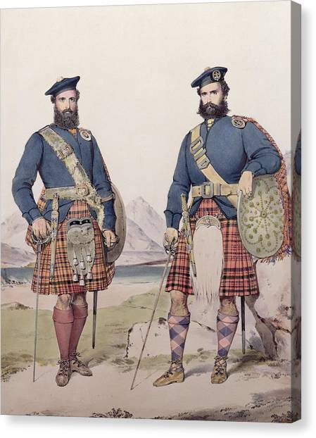Plaid Canvas Print - Two Men In Highland Dress by Kenneth Macleay