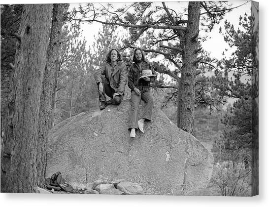 Two Men On A Boulder In The American West, 1972 Canvas Print
