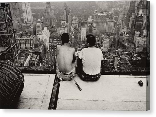 Vertigo Canvas Print - Two Men Sitting On A Scaffold Overlooking Manhattan by Nat Herz