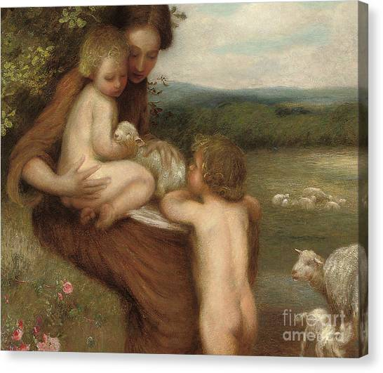 Nude Mom Canvas Print - Two Mothers  by William Edward Stott