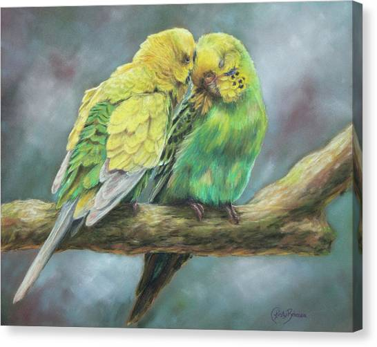Parakeets Canvas Print - Two Of A Kind by Kirsty Rebecca