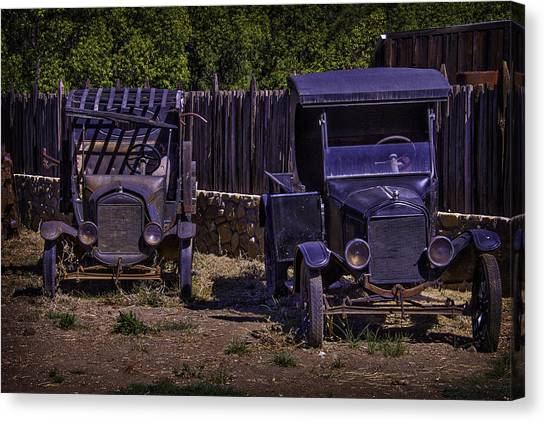 Rusty Truck Canvas Print - Two Old Friends by Garry Gay