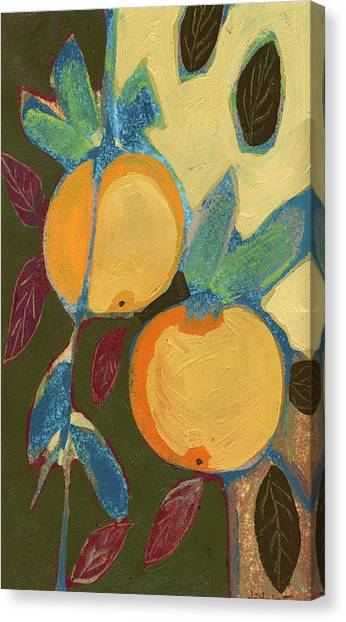 Fruit Trees Canvas Print - Two Oranges by Jennifer Lommers