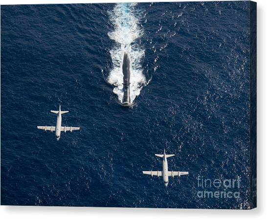 Navy Canvas Print - Two P-3 Orion Maritime Surveillance by Stocktrek Images