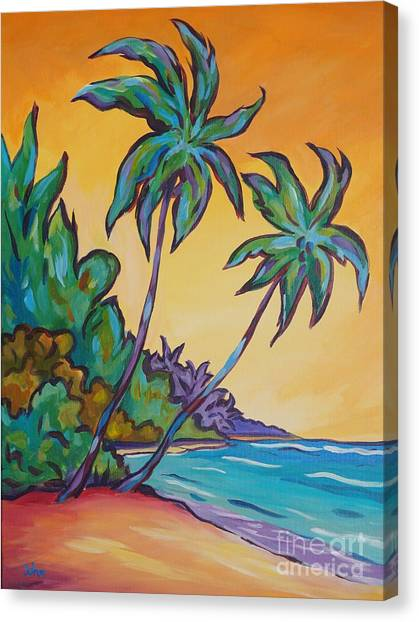 Tropical Stain Glass Canvas Print - Two Palms by John Clark