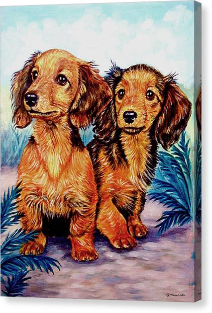 Dachshunds Canvas Print - Two Peas In A Pod - Dachshund by Lyn Cook