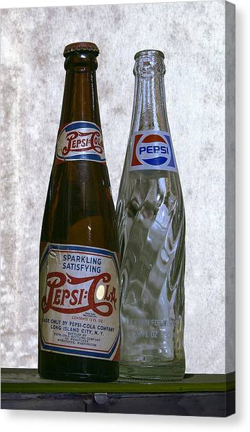 Pepsi Canvas Print - Two Pepsi Bottles On A Table by Daniel Hagerman