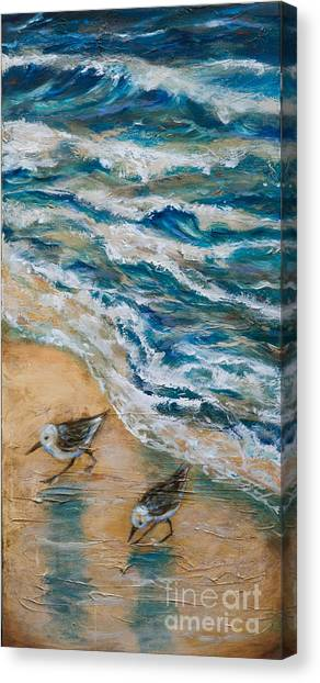 Two Pipers Along Shore Canvas Print