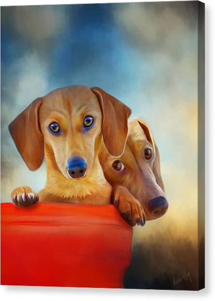 Linda King Canvas Print - Two Pups In A Bucket 4926 - No Texture by Linda King