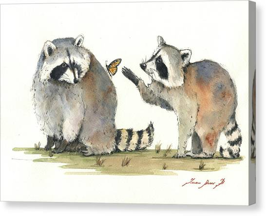 Raccoons Canvas Print - Two Raccoons by Juan Bosco