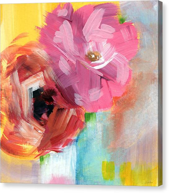Big Red Canvas Print - Two Roses- Art By Linda Woods by Linda Woods