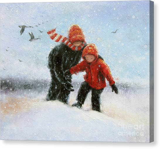Big Sister Canvas Print - Two Snow Children by Vickie Wade