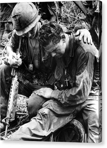 Vietnam War Canvas Print - Two Soldiers Comfort Each Other by Everett