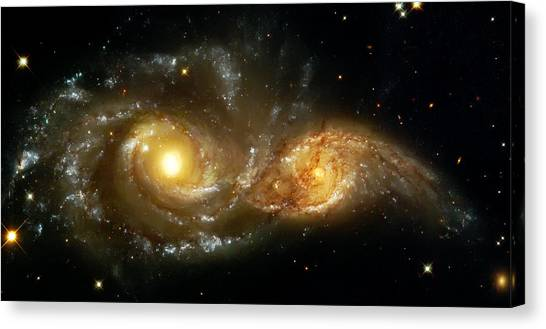 Outer Space Canvas Print - Two Spiral Galaxies by Jennifer Rondinelli Reilly - Fine Art Photography