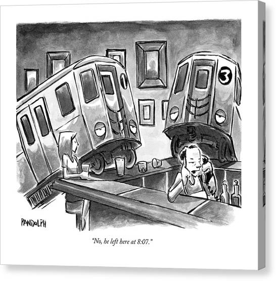 Drunk Canvas Print - Two Subway Trains Sit Drunk At A Bar by Corey Pandolph