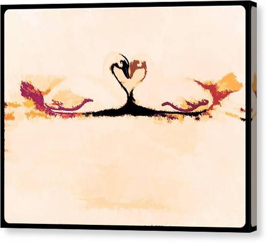 Border Wall Canvas Print - Two Swans A Swimming by Debra Lynch