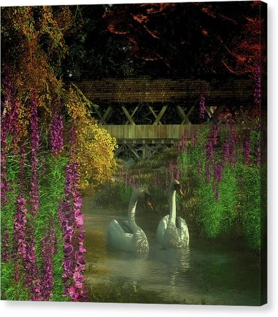 Two Swans And A Bridge Canvas Print
