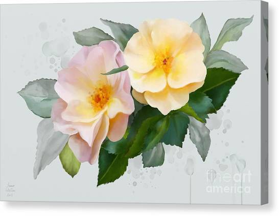 Canvas Print featuring the painting Two Wild Roses by Ivana Westin