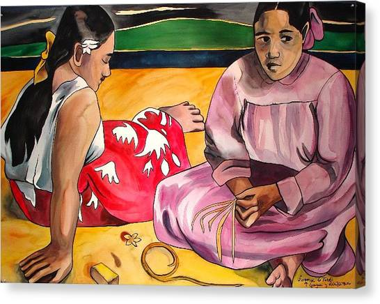 Two Woman On The Beach Canvas Print