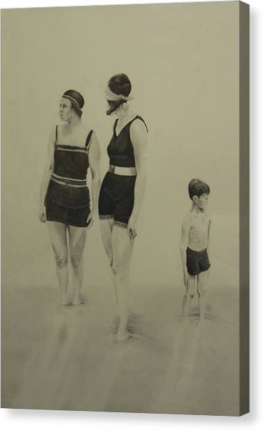 Two Women Bathers With Child Canvas Print by John C