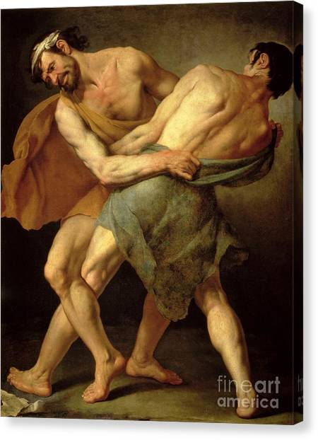 Mma Canvas Print - Two Wrestlers by Cesare Francazano