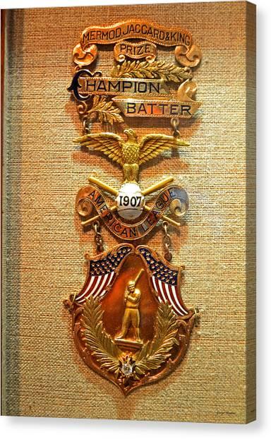 Ty Cobb Canvas Print - Ty Cobb First Batting Champion Award by George Bostian