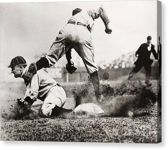 Detroit Tigers Canvas Print - Ty Cobb Gets A Triple by Jon Neidert