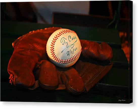 Ty Cobb Canvas Print - Ty Cobb Signed Ball 002 by George Bostian