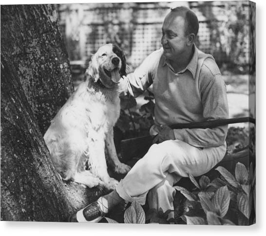 Ty Cobb Canvas Print - Ty Cobb With His Dog by Underwood Archives