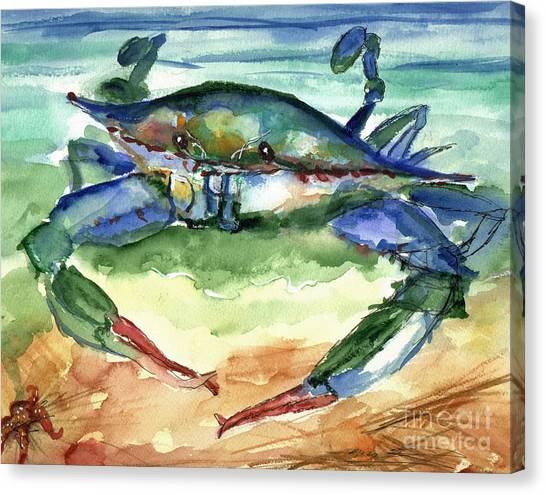 Crabbing Canvas Print - Tybee Blue Crab by Doris Blessington