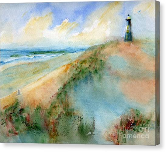Tybee Dunes And Lighthouse Canvas Print