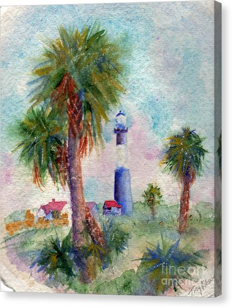 Tybee Lighthouse And Palms Canvas Print