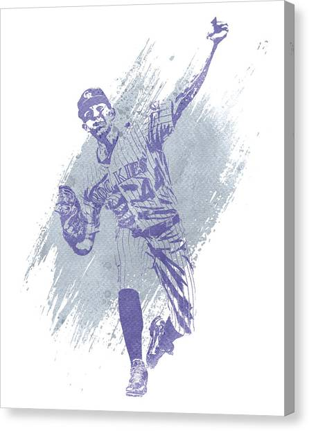 Colorado Rockies Canvas Print - Tyler Anderson Colorado Rockies Water Color Art 1 by Joe Hamilton