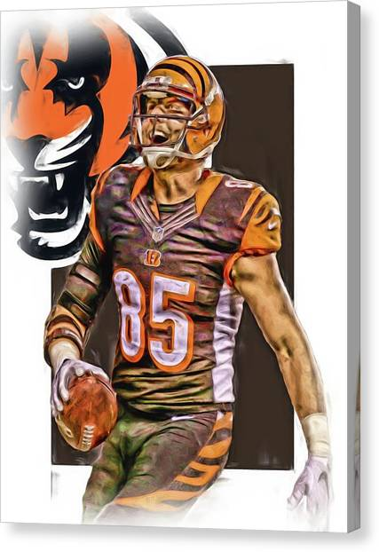 Cincinnati Bengals Canvas Print - Tyler Eifert Cincinnati Bengals Oil Art by Joe Hamilton