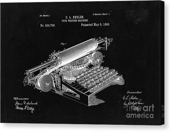 Type Writing Machine Patent From 1896  - Black Canvas Print