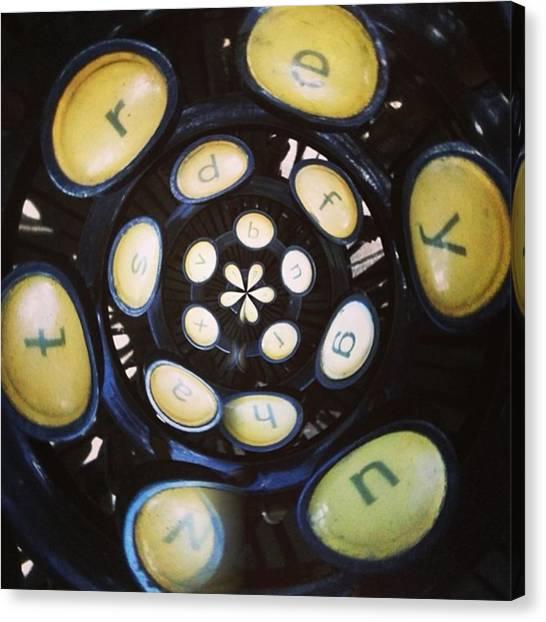 Steampunk Canvas Print - Typewriter Key Rose by Heather Classen