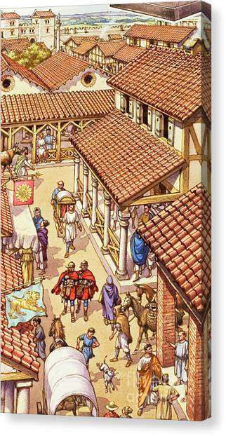 Centurion Canvas Print - Typical London Street In Roman Times by Pat Nicolle