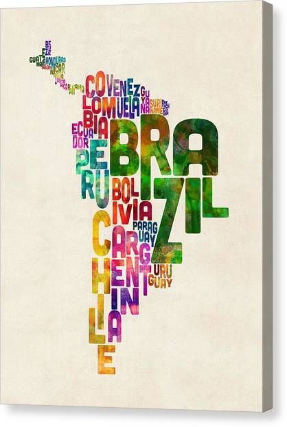 South American Canvas Print - Typography Map Of Central And South America by Michael Tompsett