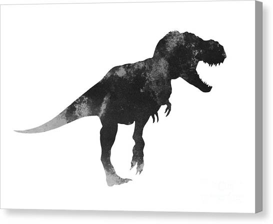 Watercolor Canvas Print - Tyrannosaurus Figurine Watercolor Painting by Joanna Szmerdt