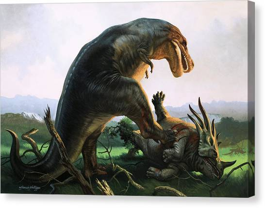 Triceratops Canvas Print - Tyrannosaurus Rex Eating A Styracosaurus by William Francis Phillipps